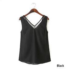 V-cuello del chaleco de la gasa sin mangas de la camiseta de la blusa superior