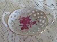 Herend Chinese Bouquet Raspberry  Pattern Hand painted Porcelain Basket
