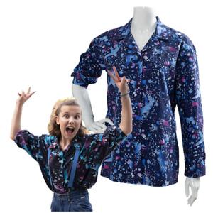 Stranger Things Season 3 Eleven Shirt Cosplay Costume Long Sleeve Blue Shirt