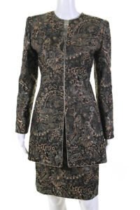 Mary McFadden Womens Long Sleeve Floral Suit Pencil Skirt Set Brown Size 6