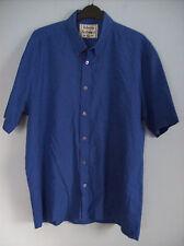 Shirt Mens Blue Short Sleeved Shirt by Roberto Bertolucci Blue Extra Large