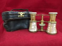 Antique Colmont Paris Mother of Pearl Opera Glasses Binocular's w/ Leather Case