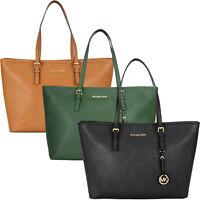 Michael Kors Jet Set Travel Saffiano Leather Tote - Black Luggage Cornflower