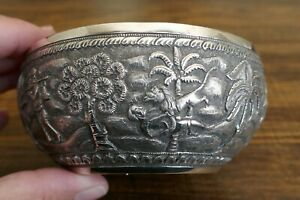 Vintage/Antique Southeast Asian 90% Silver Hand Chased Bowl - 106.3 Grams