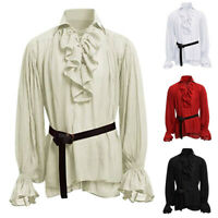 Men's Costume Pirate Hippie Bandage Long Sleeve Medieval Gothic Summer Shirt Top