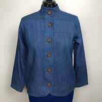 Breckenridge Petite Women's Size PM Button Up Top Denim Jacket 100% Cotton