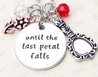 """Beauty and the Beast Necklace """"Until The Last Petal Falls"""" Rose Pendant In Bag"""