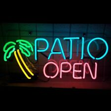 "New Patio Open Palm Tree Neon Sign Acrylic 17""x14"" Beer Cave Gift Lamp"