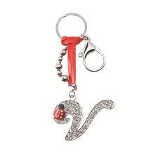 Porte-clés strass Initiale nome + coccinelle lettre V