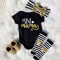 Mama's Mini Newborn Infant Baby Girl Romper+Leg Warmer+Headband Clothes Outfits