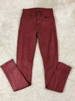 Citizens of Humanity Size 24 Red Metallic ROCKET Slick High Rise Skinny Jeans