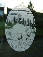 """Frosted Glass Look BEAR & CUBS Window Decor 10.5""""x16"""""""