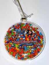 Disney world park christmas ornament celebrate everyday confetti glass globe