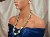 Cute Vintage 1960's Lucite Bead Necklace & Pierced Earring Demi Parure Set 147S