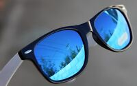 Rare 80's Vintage Sunglasses  Blue Mirror Lens Retro black / white  cool