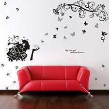 Rose Butterfly Lady Flower Love Bird Wall Sticker Decal Paper Living Nursery Kid