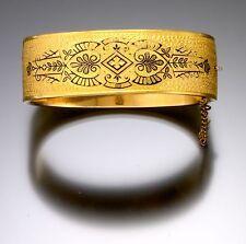 Victorian Design Wide Cuff Style Gilt w/Enamel Bracelet C. 1900s