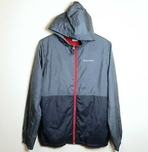 Columbia Boys Hooded Fleece Lined Jacket Windbreaker Full Zip Up Gray XL (18-20)