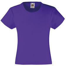 Fruit of the Loom SS005 Kids Girls Valueweight Tee Tshirt 100% Cotton Plain Tops
