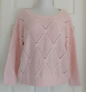 The Limited Sweater Boat Neck Pullover L Womens L Chunky Knit Pink NEW w/ tags
