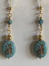 New Item-Handcrafted Vtg. Czech Egyptian Cat & Turquoise Earrings-New.g