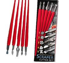 SET 5 ENGRAVING ART SCRAPER FOIL CUTTERS & HANDLES ASSORTED BLADES CRAFT TOOL