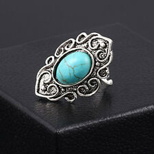New Bohemia Silver Plated Carving Flower Turquoise Fashion ring size Adjustable