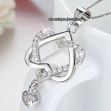 BLACK FRIDAY Xmas Gifts For Her Silver Crystal Heart Necklace Sister Girl Women