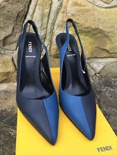 Fendi Bi-Colour Slingback Decolette Heels - Blue/Black - EU 40/UK 7 - RRP £340+