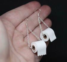 Silver TOILET PAPER Roll EARRINGS Hook Ear Wire Polymer Handmade Clay S B9J2