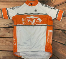 Men's Medium Canari Cycling Jersey Orange White 1/2 Zip Cancer Awareness 2012