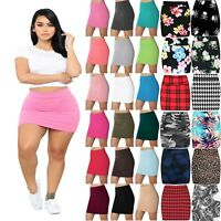 New Womens Jersey High Waist Bodycon Mini Skirt Elasticated Short Skirts UK 8-14