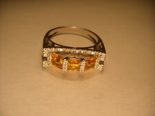 Fabulous Estate 14K White Gold Citrine Diamond Three-Stone 3-Stone Ring Band