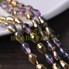 New 30pcs 12X8mm Faceted Teardrop Crystal Glass Spacer Loose Beads Gold Colorful
