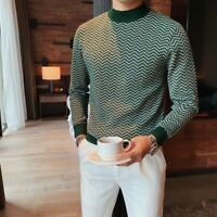 3Colors Sweater Men British Style Autumn Winter Fashion Wave Striped Pullovers