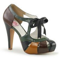 Pin Up Couture BETTIE-19 Womens Bettie Brown Multi Faux Leather Heel Pump Sandal