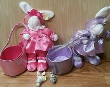 lot of 2 Adorable vintage Easter bunny rabbits with baskets ,makes great gifts