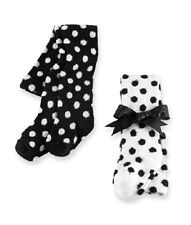 New Mud Pie 2 Styles Fuzzy Dots Tights Black& White Polka 0-6 Months gift