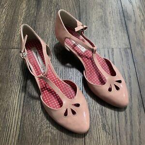 Women's Sz. 9 Pink Mary Jane Kitten Heel But Another Innocent Tale Synthetic