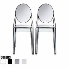 Set Of 2 Modern Plastic Molded Transparent Side Dining Acrylic Arm less Chair