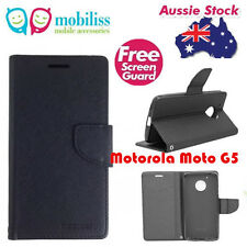 Mooncase Stand Black Wallet Case With TPU In Cover For Motorola Moto G5 Free SP