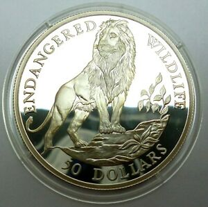 Cook Islands 50 Dollars 1991 Silver Coin Proof Endangered Wildlife - Lion (T99)