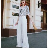 Zara white flare high rise pants size XS work professional