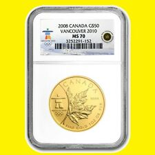 2008 CANADA MAPLE LEAF 1 OZ GOLD 9999 NGC MS 70 RARE LOW POP LOW MINT
