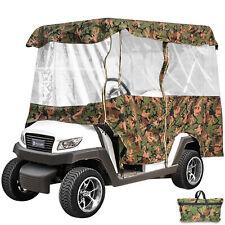 Golf Cart Cover Waterproof 4 Passenger 300D Oxford Roll-up Door Canopy w/Bag