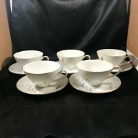 Vintage CTSI ETERNAL HARVEST Wheat Pattern Set of 5 Cups Saucers