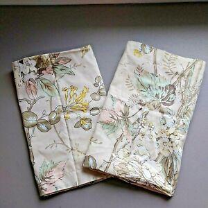 Lot of 2 Martha Stewart Beige Floral Hanging Gardens Square Euro Pillow Shams