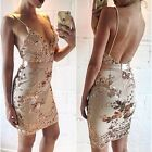 Women's Sexy Sling Sequins Deep V-Neck Bodycon Club Cocktail Party Mini Dress