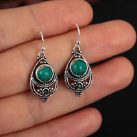 Women Dangle Boho Vintage Turquoise Earrings 925 Silver Natural Gemstone Hook