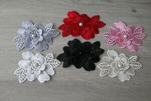 3D Blumen Applikationen Spitzen Aufnäher Blüte Perlen Lace Kleidung Kleid Deko